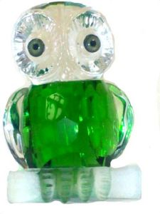 Feng Shui Glass Crystal Owl (green Color) Bird Figure (in Diamond Cut)