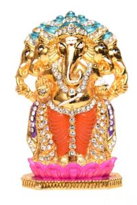 Panchamukhi Ganesha Ji Metal Statue Goldenwith Jerkin Diamonds Finished For Your Car