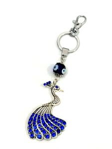 Beautiful Metal Peacock Evil Eye Key Ring Chain / Ring
