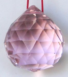 Pink Faceted Feng Shui Crystal Glass Ball ( 40 MM )