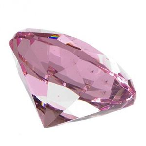 Pink Clear Crystal Diamond Paperweight Engravable ( 98 MM )