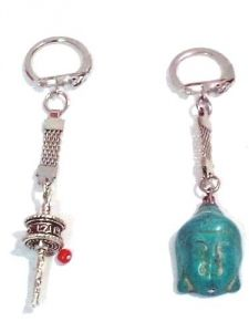 Prayer Wheel Key Ring Budha Blue Turquoise Magnesite Key Ring