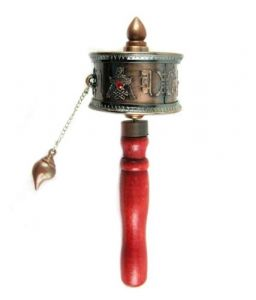 Tibetan Hand-held Prayer Wheel In Copper Tone Color