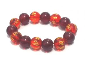 Tibetan Red Synthetic Crystals Om Mani Padme Hum Engraved Stretch Bracelet
