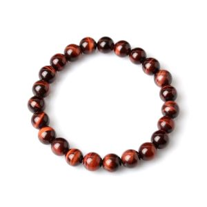 Red Tiger Eye Stone Stretch Bracelet ( 8 MM )