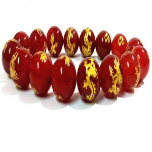 RED AGATE FENGSHUI DRAGON CARVED STRETCH BRACELET (12 MM ) FOR LUCK & PROTECTION