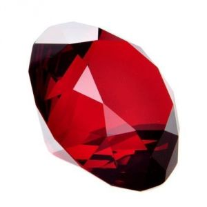 Red Clear Crystal Diamond Cut Paperweight Engravable High Grade 100 MM