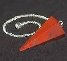 RED JASPER CRYSTAL FACETED CONICAL SHAPE DOWSER ( CRYSTAL HEALING ), PENDULUM