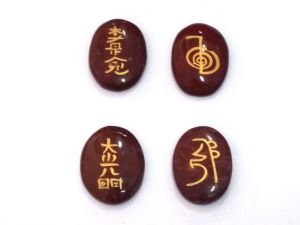 Red Jasper Set Of 4 Reiki Symbols Engraved On Healing Palm Stones