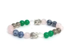 Rose, Smokey & Clear Quartz With Sodalite Buddha Power Stretch Bracelet (8 Mm) For Anger Control