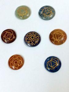 Chakra Gemstone Engraved Palm Stone Set Chakra Set Chakra Stone Crystals
