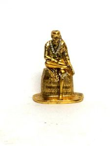 Sai Baba Statue Golden Finish With Jerkin Diamonds For Your Car Dashboard & Home