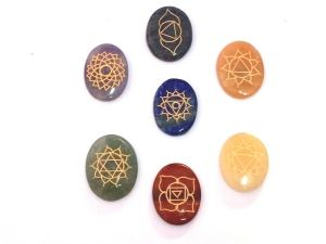 Seven Chakra Gemstone Oval Palm Stone Set