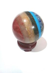 7 CHAKRA BONDED 60 MM DIAMETER SPHERE / BALL ( 310 GRMS )