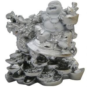 Laughing Buddha Sitting On Dragon In Silver Finish For Prosperity & Wealth
