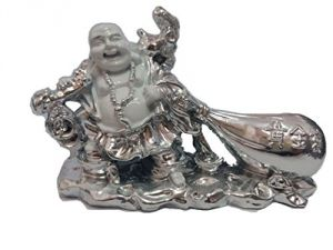 Big Laughing Buddha In Silver Finish Holding Hamp Sack For Prosperity & Wealth