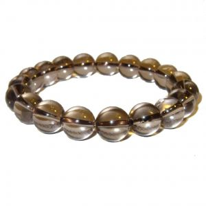 Smoky Quartz Crystal High Grade 14 MM Stretch Bracelet ( Code - Smokybr14 )