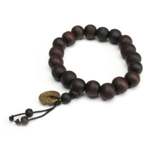 Tibetan Buddhist Prayer Mala Black/dark Brown Wood Bracelet With Feng Shui Coin