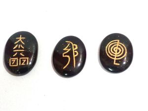 Black Tourmaline Set Of 3 Reiki Symbols Engraved On Healing Palm Stones