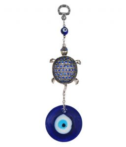 Evil Eye Bejeweled Tortoise Hanging For Protection & Prosperity