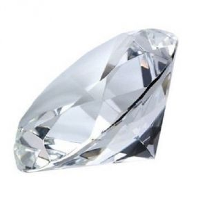 Clear Crystal Diamond Paperweight Engravable (white) Big Crystal