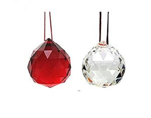 White And Red Faceted Feng Shui Crystal Ball ( 40 MM )