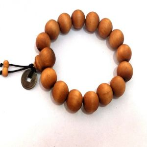 Tibetan Buddhist Prayer Mala Wooden Bracelet With Feng Shui Coin