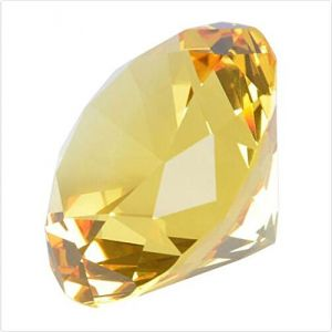 Yellow Clear Crystal Diamond Cut Paperweight Engravable High Grade 40 MM