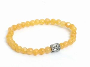 Yellow Aventurine Buddha Head Bracelet ( 6 MM )