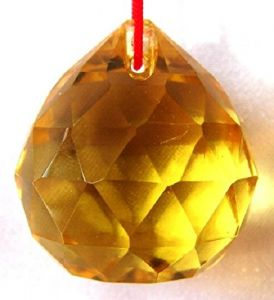 Yellow Faceted Feng Shui Crystal Ball ( 40 MM )