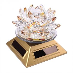 Yellow Color Solar Revolving Crystal Glass Lotus ( Code - Solarlotusyellow )