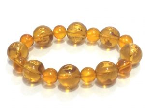 Tibetan Yellow Synthetic Crystals Om Mani Padme Hum Engraved Stretch Bracelet