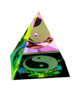 Yin Yang Symbol Crystal Glass Pyramid For Good Luck