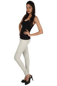 Rham Women's Clothing - Rham Off White 95% Cotton & 5% Elastane Full Length Leggings_Size - 4XL