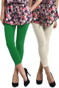 Rham Women's Clothing - Set of 2-RHAM Parrot Green & Off White Cotton Lycra Capris Leggings