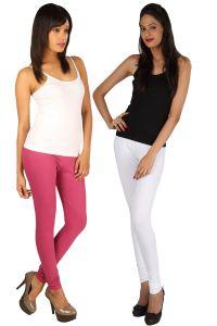 Rham Women's Clothing - Pack Of 2 - Rham Coral & White Cotton Lycra Slim Fit Leggings