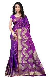 De Marca Purple Banarasi Silk Saree (code - 1124d)