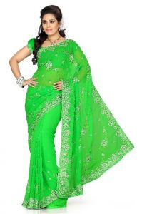 De Marca Green Faux Chiffon Saree - 154