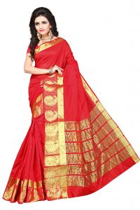 De Marca Red Colour Manipuri Cotton - Silk Saree (product Code - 350-1101a)