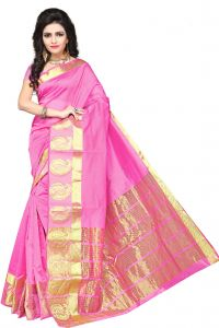 De Marca Pink Colour Manipuri Cotton - Silk Saree (product Code - 350-1101f)