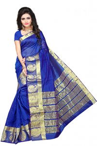 De Marca Blue Colour Manipuri Cotton - Silk Saree (product Code - 350-1101g)