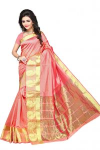 De Marca Peach Colour Manipuri Cotton - Silk Saree (product Code - 350-1101h)