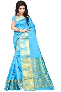 De Marca Sky Blue Colour Manipuri Cotton - Silk Saree (product Code - 350-1101i)