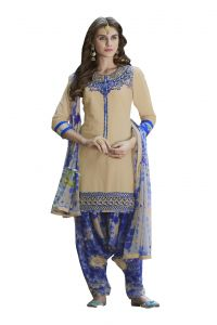 De Marca Beige Colour Cotton Semi Stitch Patiyala Dress Material (code - De Marca 403-9008)