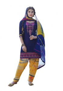 De Marca Navy Blue Colour Cotton Semi Stitch Patiyala Dress Material (code - De Marca 403-9011)