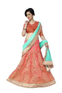 De Marca Red - Orange Colour Silk Semi Stitch Lehenga Choli (code - De Marca 412-2)