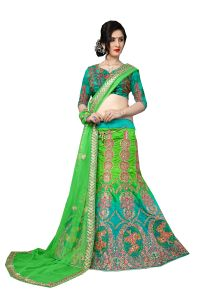 Chaniya, Ghagra Cholis - De Marca Green Colour Silk Semi Stitch Lehenga Choli (Code - De Marca 412-4)