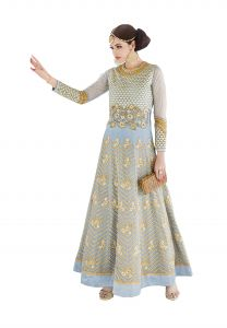 De Marca Pastel Blue Colour Semi Stitched Georgette Dress Material (code - 417-7217)