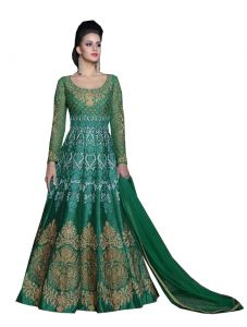 De Marca Dark Green Colour Semi Stitched Silk Dress Material (code - 420-5204)