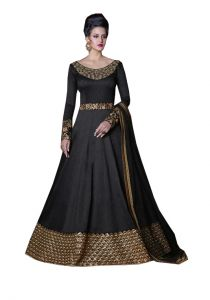 De Marca Black Colour Semi Stitched Silk Dress Material (code - 420-5211)